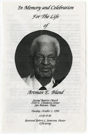 Primary view of object titled '[Funeral Program for Artman E. Bland, October 1, 1996]'.