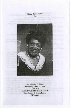 Primary view of object titled '[Funeral Program for Charity E. Bland, May 21, 1986]'.