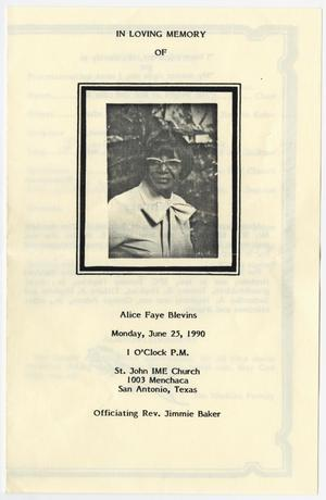 Primary view of object titled '[Funeral Program for Alice Faye Blevins, June 25, 1990]'.