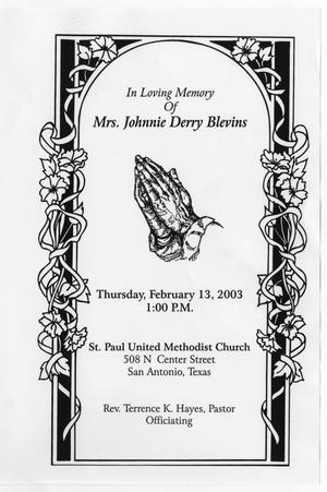 Primary view of object titled '[Funeral Program for Johnnie Derry Blevins, February 13, 2003]'.