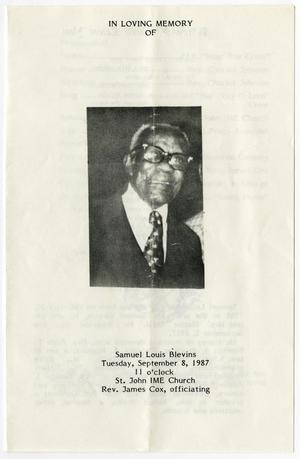 Primary view of object titled '[Funeral Program for Samuel Louis Blevins, September 8, 1987]'.