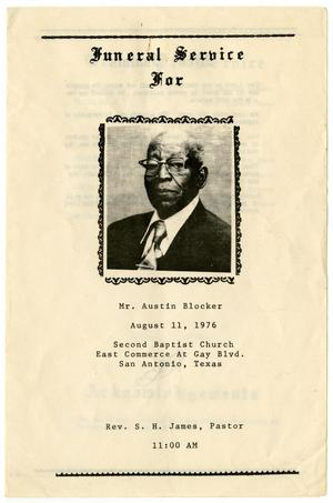 Primary view of object titled '[Funeral Program for Austin Blocker, August 11, 1976]'.