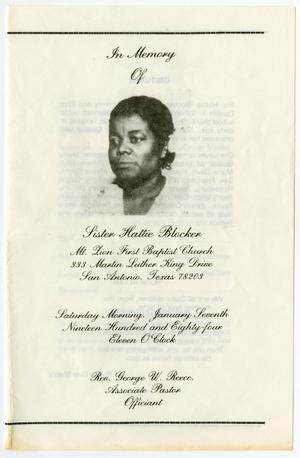 Primary view of object titled '[Funeral Program for Hattie Blocker, January 7, 1984]'.