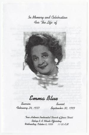 Primary view of object titled '[Funeral Program for Emma Blue, October 6, 1999]'.