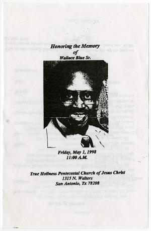 Primary view of object titled '[Funeral Program for Wallace Blue, Sr., May 1, 1998]'.