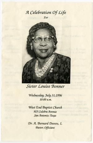 Primary view of object titled '[Funeral Program for Louise Bonner, July 31, 1996]'.