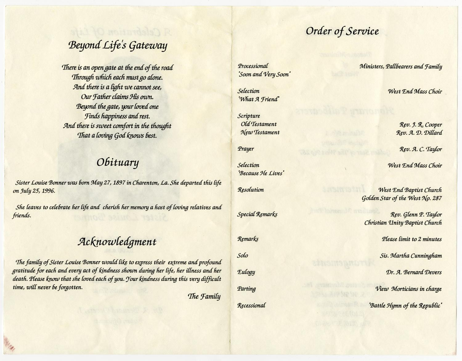 [Funeral Program for Louise Bonner, July 31, 1996]                                                                                                      [Sequence #]: 2 of 3