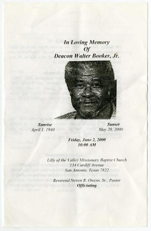 Primary view of object titled '[Funeral Program for Walter Booker, Jr., June 2, 2000]'.