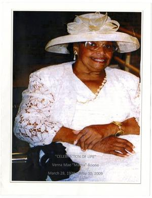 Primary view of object titled '[Funeral Program for Verna Mae Boone, May 18, 2009]'.