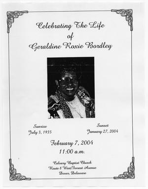 [Funeral Program for Geraldine Roxie Bordley, February 7, 2004]