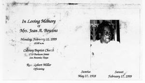 Primary view of object titled '[Funeral Program for Jean A. Bowens, February 22, 1999]'.