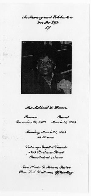 Primary view of object titled '[Funeral Program for Mildred L. Bowers, March 21, 2005]'.