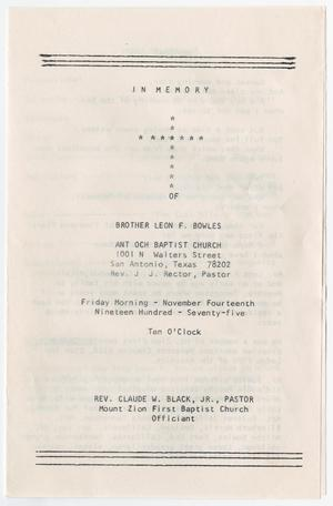 Primary view of object titled '[Funeral Program for Leon F. Bowles, November 14, 1975]'.