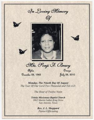 [Funeral Program for Sonji F. Bracy, August 9, 2010]