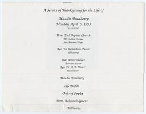 Primary view of object titled '[Funeral Program for Maudie Bradberry, April 5, 1993]'.
