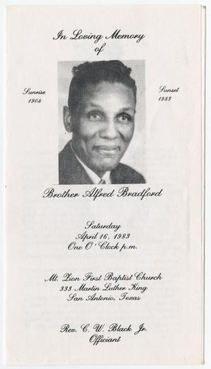 Primary view of object titled '[Funeral Program for Alfred Bradford, April 16, 1983]'.