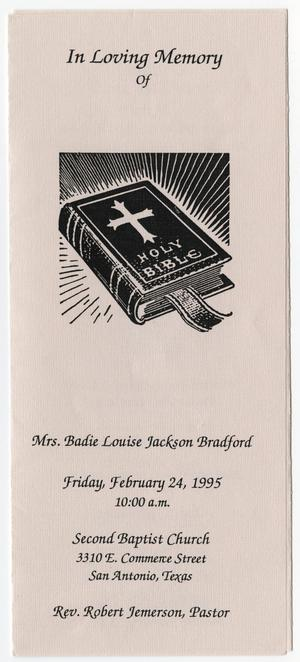 Primary view of object titled '[Funeral Program for Badie Louise Jackson Bradford, February 24, 1995]'.