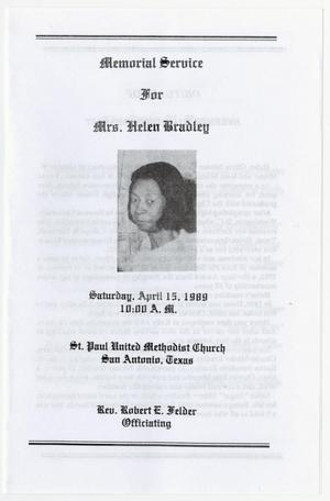 Primary view of object titled '[Funeral Program for Helen Bradley, April 15, 1989]'.