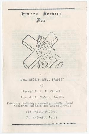 Primary view of object titled '[Funeral Program for Nezzie Adell Bradley, January 23, 1975]'.