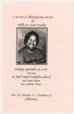 Primary view of object titled '[Funeral Program for Willie H. Grant Bradley, September 18, 2006]'.