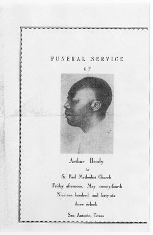Primary view of object titled '[Funeral Program for Arthur Brady, May 24, 1946]'.