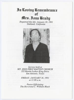 Primary view of object titled '[Funeral Program for Iona Brady, January 16, 1981]'.