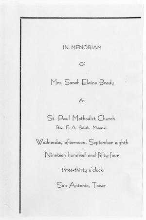 Primary view of object titled '[Funeral Program for Sarah Elaine Brady, September 8, 1954]'.