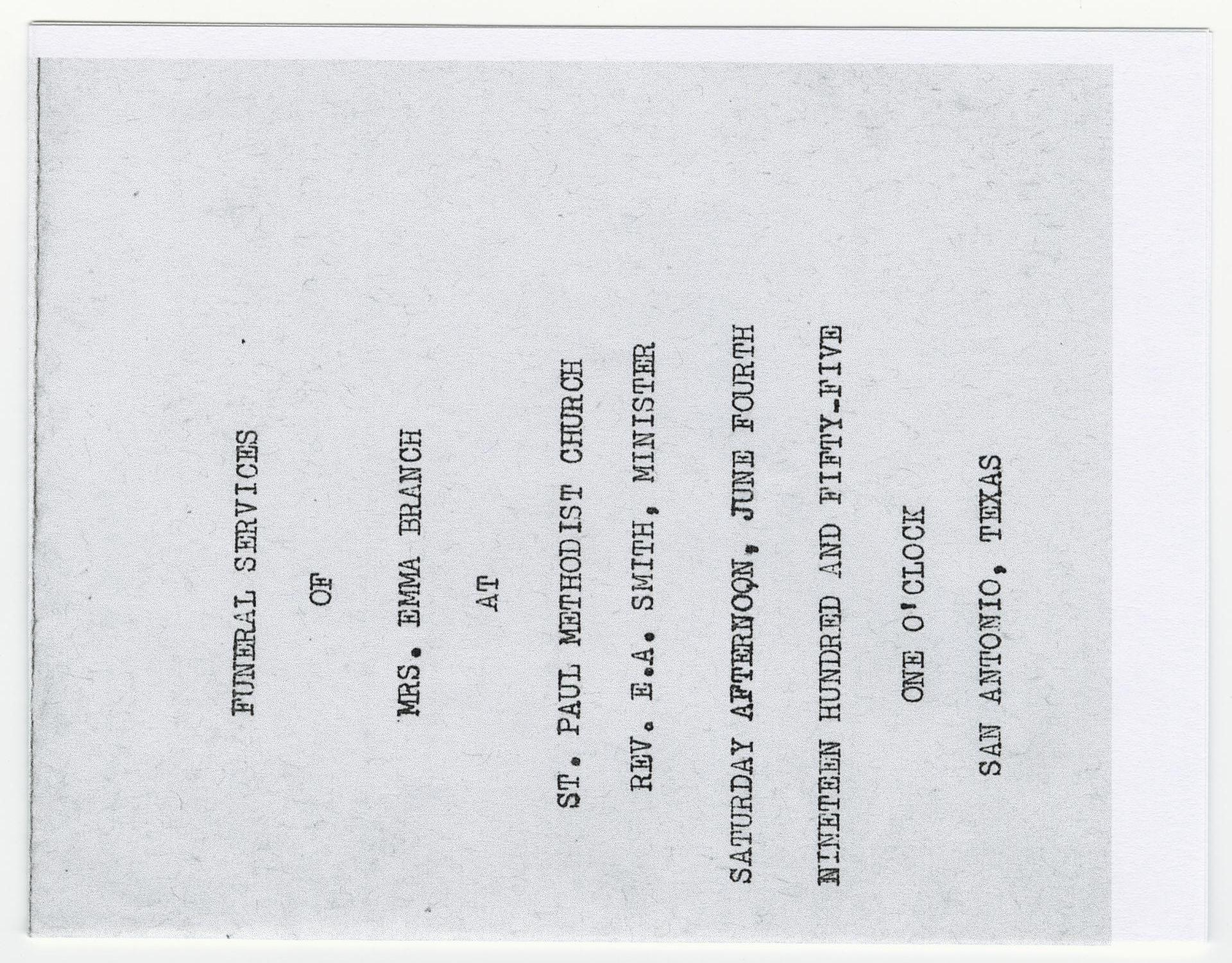 [Funeral Program for Emma Branch, June 4, 1955]                                                                                                      [Sequence #]: 1 of 3