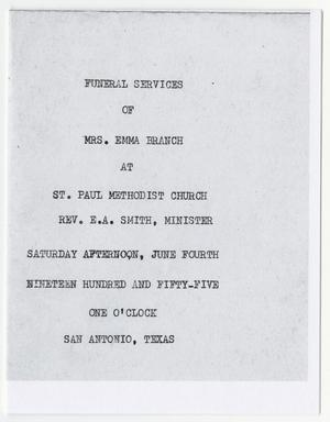 Primary view of object titled '[Funeral Program for Emma Branch, June 4, 1955]'.
