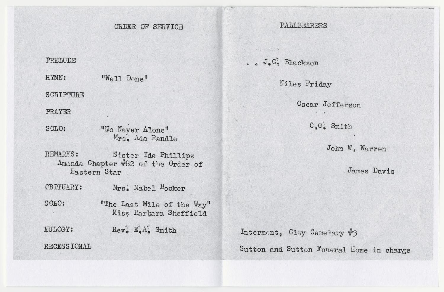 [Funeral Program for Emma Branch, June 4, 1955]                                                                                                      [Sequence #]: 2 of 3