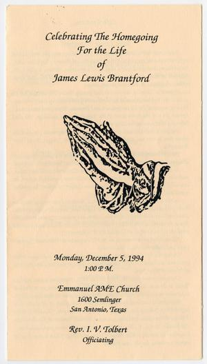 Primary view of object titled '[Funeral Program for James Lewis Brantford, December 5, 1994]'.