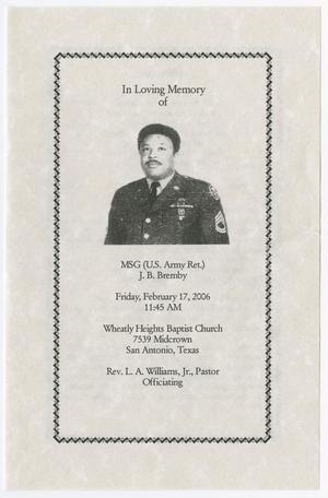 Primary view of object titled '[Funeral Program for J. B. Bremby, February 17, 2006]'.