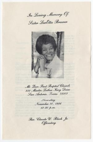Primary view of object titled '[Funeral Program for LeeEtta Brewer, November 20, 1986]'.