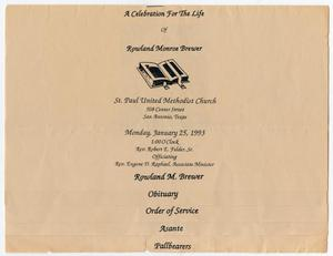 Primary view of object titled '[Funeral Program for Rowland Monroe Brewer, January 25, 1993]'.