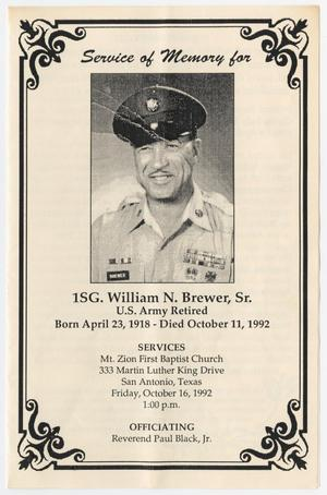 Primary view of object titled '[Funeral Program for William N. Brewer, Sr., October 16, 1992]'.