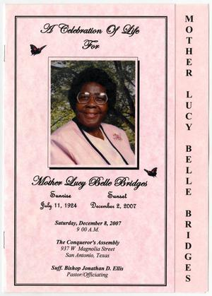 Primary view of object titled '[Funeral Program for Lucy Belle Bridges, December 8, 2007]'.