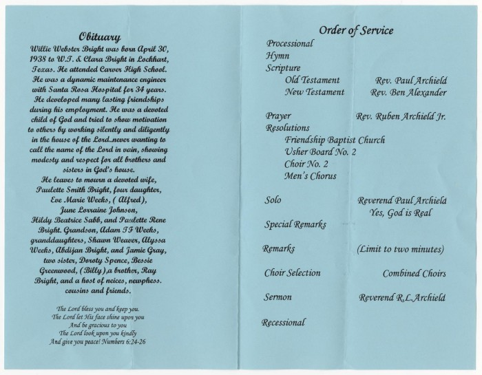 All About Funeral Program Wording Examples Of Wording For Funeral