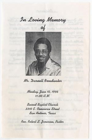 Primary view of object titled '[Funeral Program for Darnell Broadwater, June 10, 1996]'.