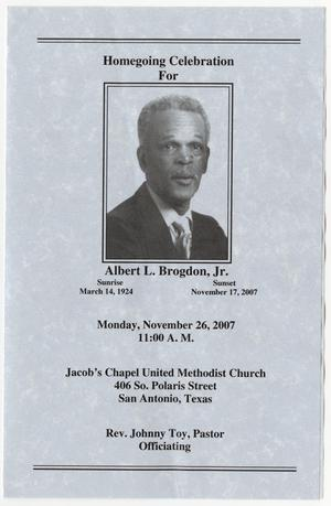 Primary view of object titled '[Funeral Program for Albert L. Brogdon, Jr., November 26, 2007]'.