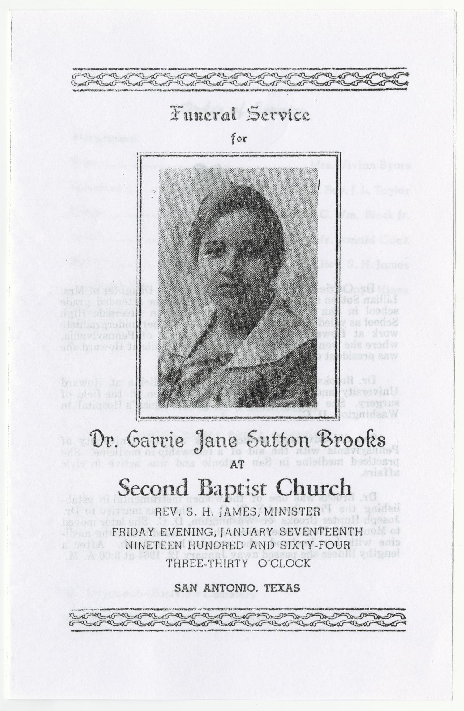 [Funeral Program for Carrie Jane Sutton Brooks, January 17, 1964]                                                                                                      [Sequence #]: 1 of 3