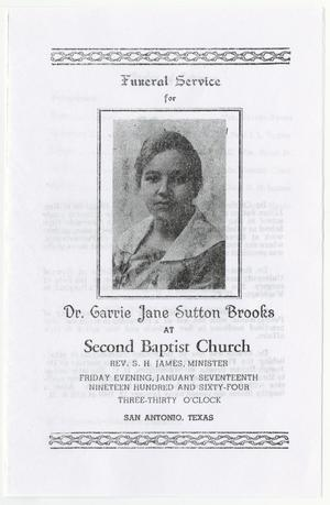 Primary view of object titled '[Funeral Program for Carrie Jane Sutton Brooks, January 17, 1964]'.
