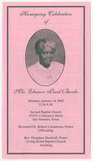 Primary view of object titled '[Funeral Program for Eleanor Pearl Brooks, January 14, 2002]'.