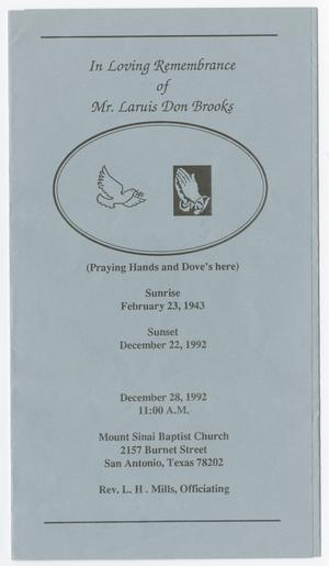 [Funeral Program for Laruis Don Brooks, December 28, 1992]