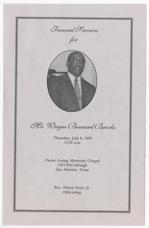 Primary view of object titled '[Funeral Program for Wayne Bernard Brooks, July 8, 1999]'.
