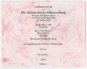 [Funeral Program for Wilethel Beatrice Whitmore Brooks, May 7, 1999]