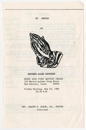 Primary view of object titled '[Funeral Program for Allen Brothers, May 25, 1984]'.