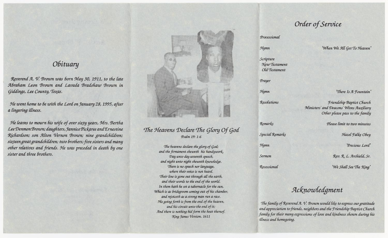 [Funeral Program for A. V. Brown, February 2, 1995]                                                                                                      [Sequence #]: 2 of 3