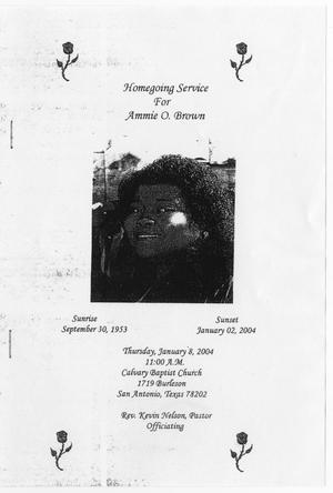 Primary view of object titled '[Funeral Program for Ammie O. Brown, January 8, 2004]'.