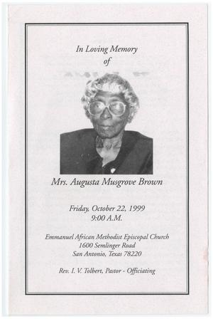 Primary view of object titled '[Funeral Program for Augusta Musgrove Brown, October 22, 1999]'.