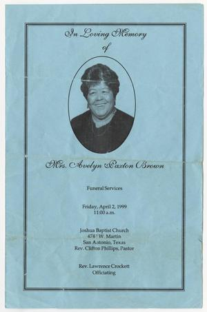 [Funeral Program for Avelyn Paxton Brown, April 2, 1999]